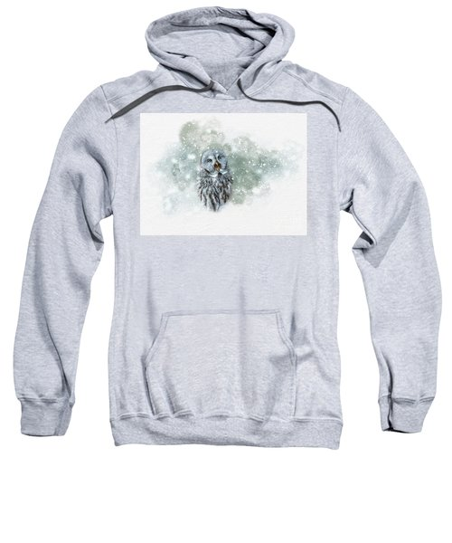 Great Grey Owl In Snowstorm Sweatshirt