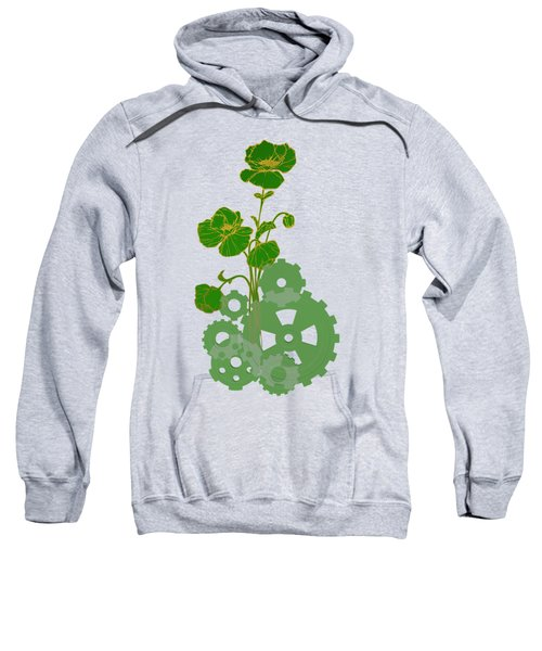 Green Mechanical Flowers Sweatshirt