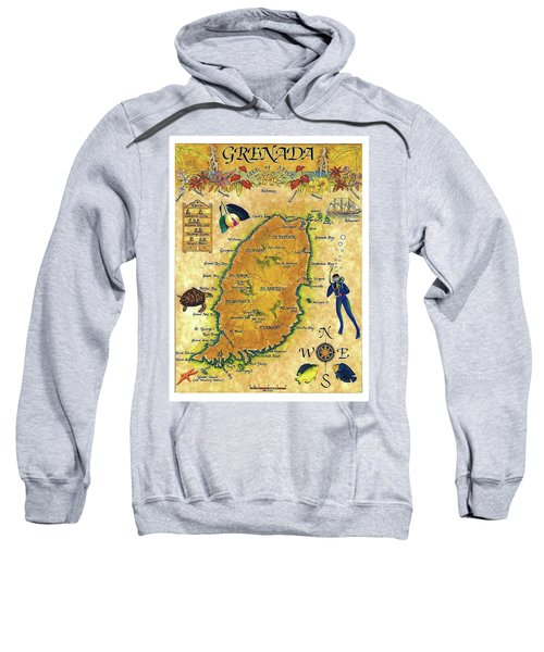 Grenada, Isle Map, Scuba Diving Sweatshirt