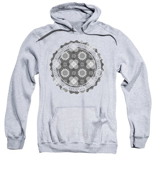 Grey Circles And Flowers Pattern Sweatshirt
