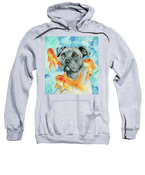 Guardian - Pit Bull Dog And Goldfishes Watercolor Painting Sweatshirt