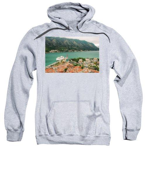 Gulf Of Kotor With Cruise Liner Sweatshirt
