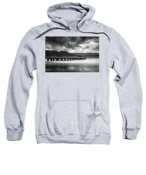 Hanalei Pier In Black And White Sweatshirt