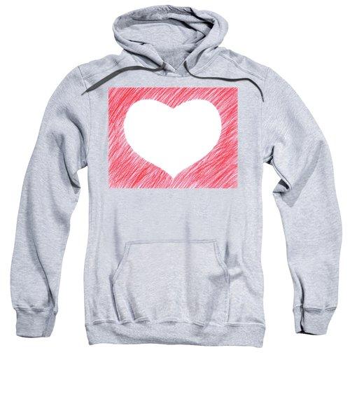 Hand-drawn Red Heart Shape Sweatshirt by GoodMood Art