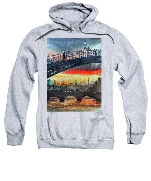 Hapenny Bridge Sunset, Dublin...27apr18 Sweatshirt