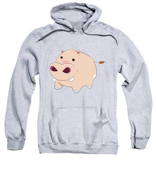 Happy Cartoon Baby Hippo Sweatshirt