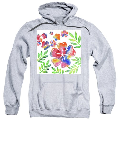 Happy Flowers Watercolor Silhouettes  Sweatshirt