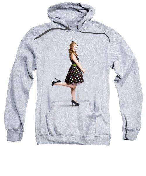 Happy Woman In Retro Dress Sweatshirt