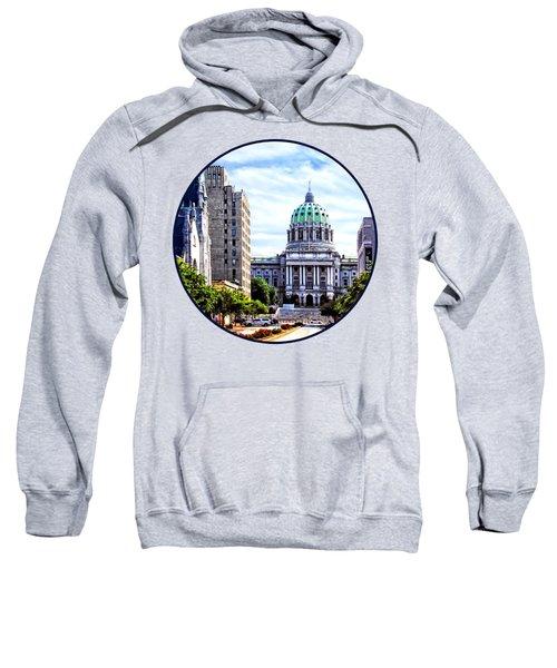 Harrisburg Pa - Capitol Building Seen From State Street Sweatshirt by Susan Savad