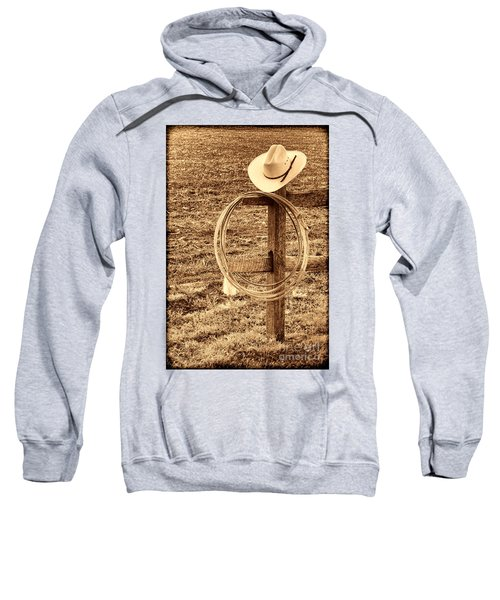 Hat And Lariat On A Post Sweatshirt