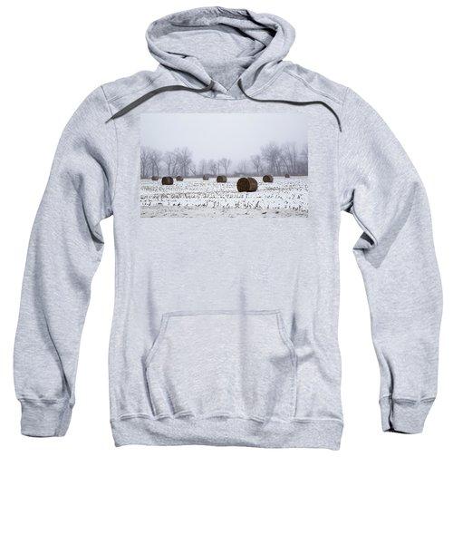 Hay Bales In The Snow Sweatshirt