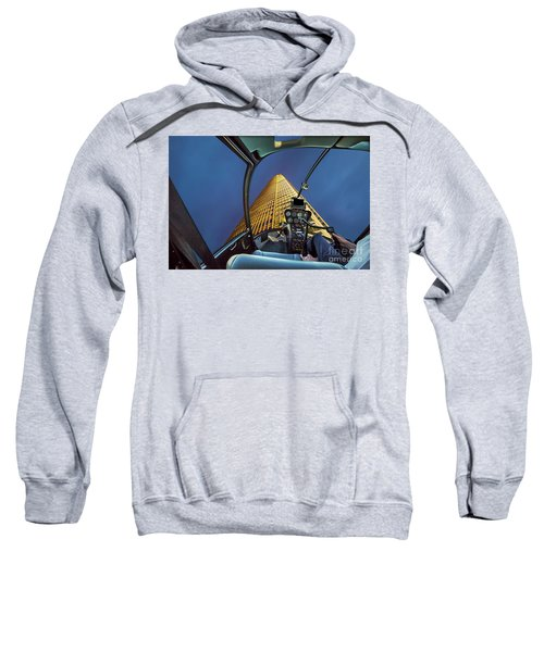 Helicopter On Skyscaper Facade Sweatshirt
