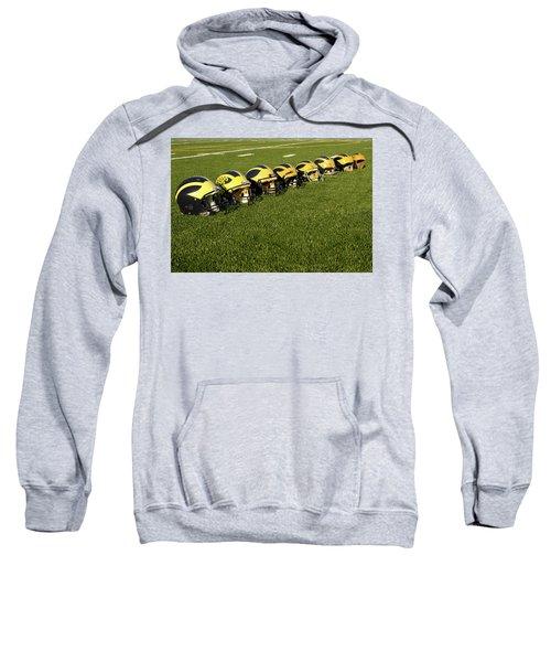 Helmets Of Different Eras On The Field Sweatshirt