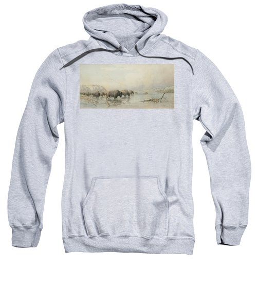 Herd Of Buffalo Watering Sweatshirt