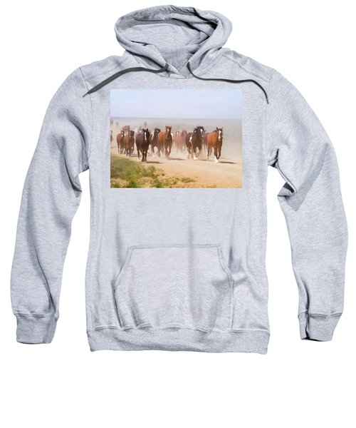 Herd Of Horses During The Great American Horse Drive On A Dusty Road Sweatshirt