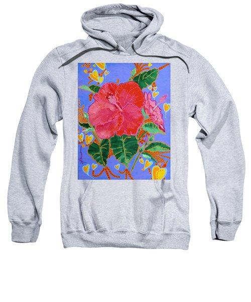 Hibiscus Motif Sweatshirt