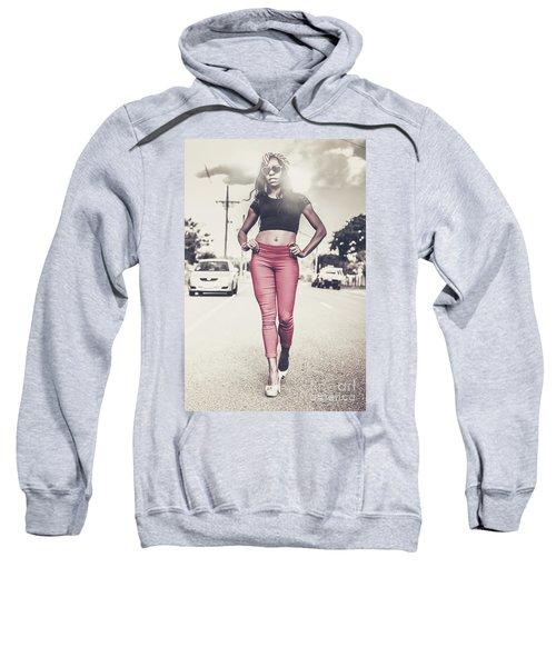 High Street Fashion Model In Luxury Apparel  Sweatshirt