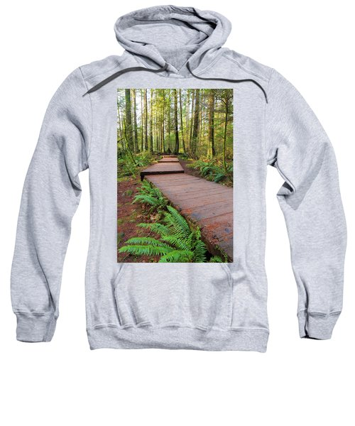 Hiking Trail Wood Walkway In Lynn Canyon Park Sweatshirt