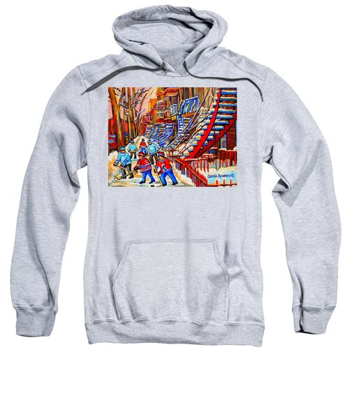 Hockey Game Near The Red Staircase Sweatshirt