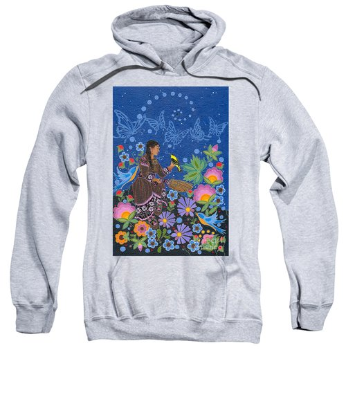 Sweatshirt featuring the painting Hole In The Sky's Daughter by Chholing Taha