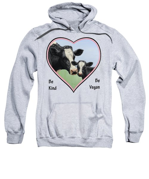 Holstein Cow And Calf Pink Heart Vegan Sweatshirt by Crista Forest