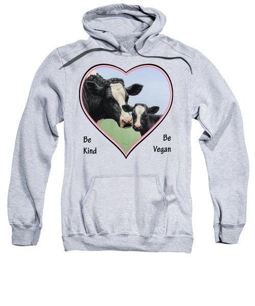 Holstein Cow And Calf Pink Heart Vegan Sweatshirt