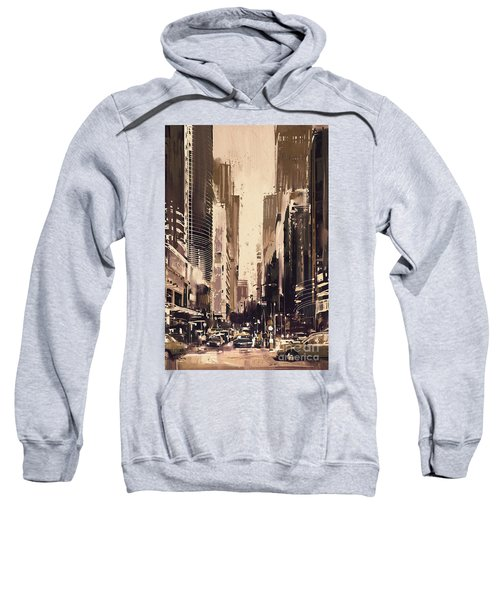 Sweatshirt featuring the painting Hong-kong Cityscape Painting by Tithi Luadthong