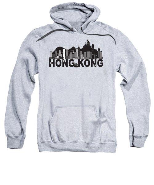 Hong Kong Skyline Buddha Statue Text Black And White Illustration Sweatshirt