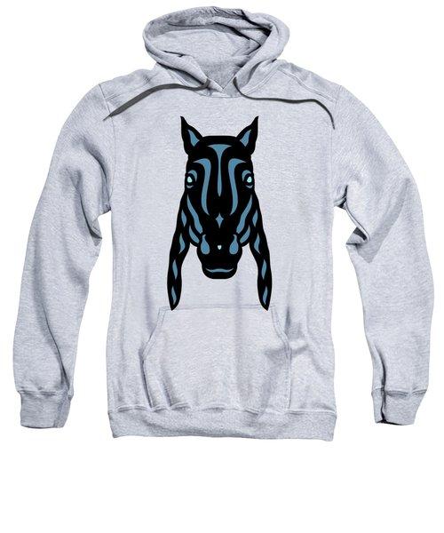 Horse Face Rick - Horse Pop Art - Hazelnut, Niagara Blue, Island Paradise Blue Sweatshirt