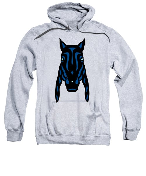 Horse Face Rick - Horse Pop Art - Primrose Yellow, Lapis Blue, Island Paradise Blue Sweatshirt