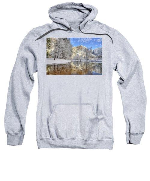 Horsetail Fall Reflections Winter Yosemite National Park Sweatshirt