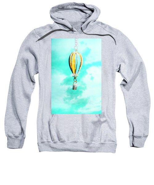 Hot Air Balloon Pendant Over Cloudy Background Sweatshirt