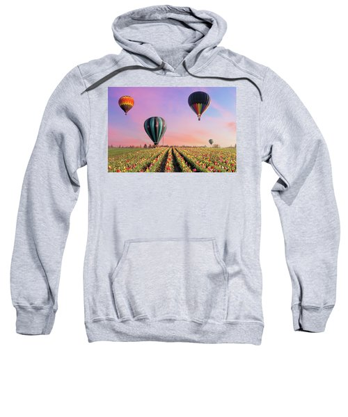 Hot Air Balloons At Tulip Fields Sweatshirt