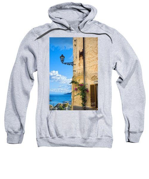 House With Bougainvillea Street Lamp And Distant Sea Sweatshirt