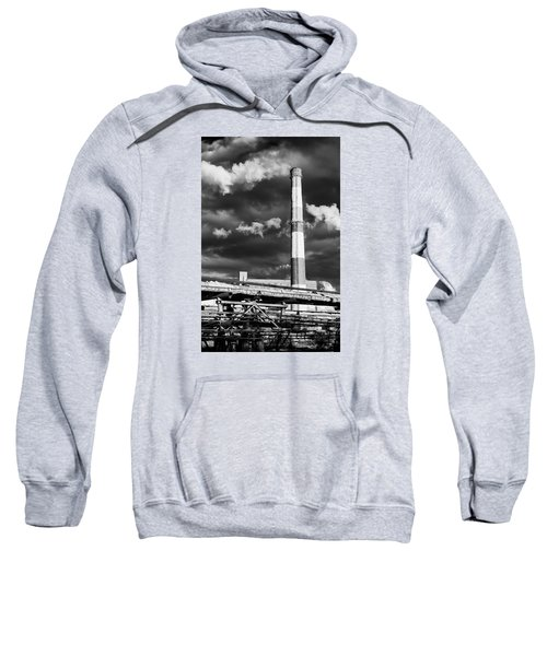 Huge Industrial Chimney And Smoke In Black And White Sweatshirt