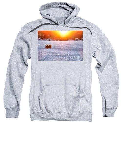 Ice Fishing On China Lake Sweatshirt