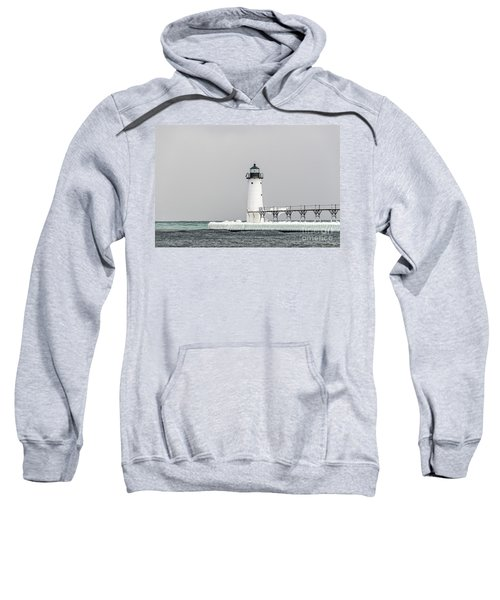 Ice On The Pier At Manistee Light Sweatshirt