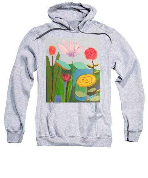 Sweatshirt featuring the painting Imagined Flowers One by Rod Ismay