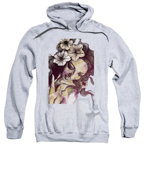 In The Year Of Our Lord - Wine - Smiling Lady With Petunias Sweatshirt