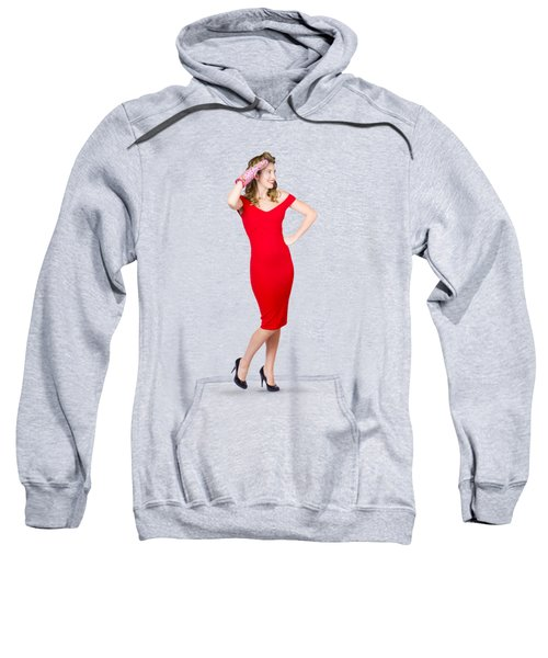 Isolated Female Pin Up Cook On Stove Watch Sweatshirt by Jorgo Photography - Wall Art Gallery