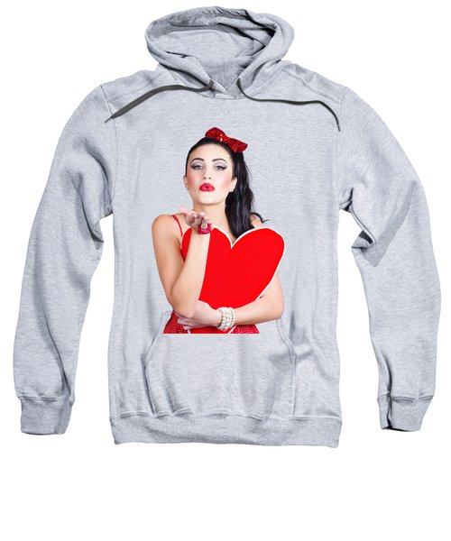 Isolated Pin Up Woman Holding A Heart Shaped Sign Sweatshirt