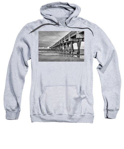 Jacksonville Beach Pier In Black And White Sweatshirt
