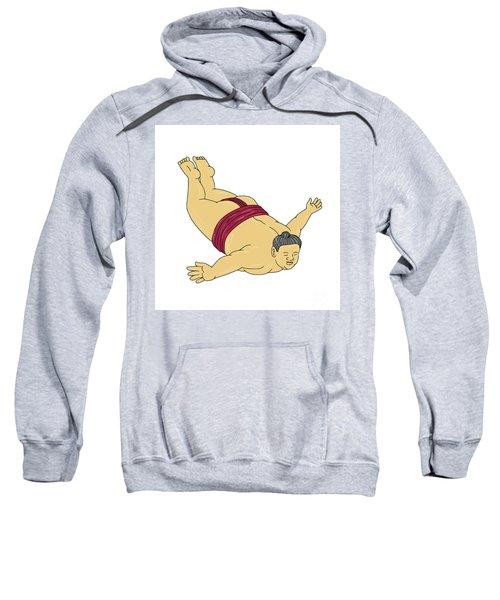 Japanese Sumo Wrestler Skydiving Drawing Sweatshirt