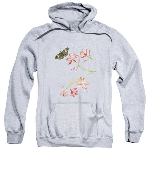 Jasmine Shrub With Red Flowers Caterpillar And Butterfly By Cornelis Markee 1763 Sweatshirt