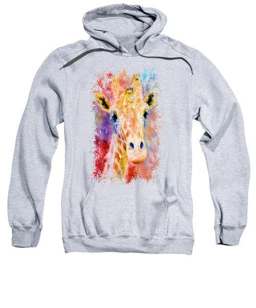 Jazzy Giraffe Colorful Animal Art By Jai Johnson Sweatshirt by Jai Johnson
