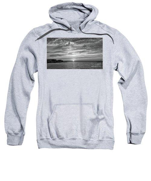 Jersey Shore Sunset In Black And White Sweatshirt