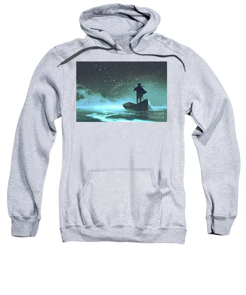 Sweatshirt featuring the painting Journey To The New World by Tithi Luadthong