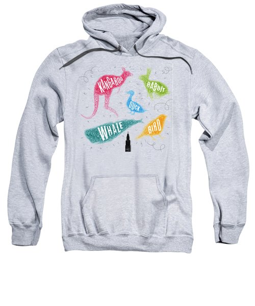 Kangaroo - Rabbit - Duck - Whale - Bird In Colors Sweatshirt by Aloke Creative Store