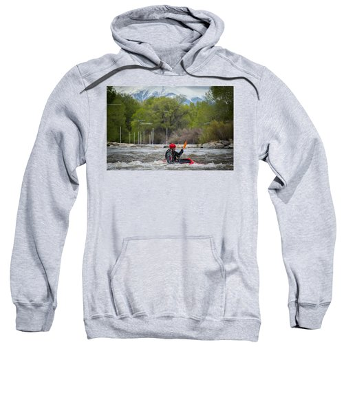 Sweatshirt featuring the photograph Kayaker On The Arkansas by Stephen Holst