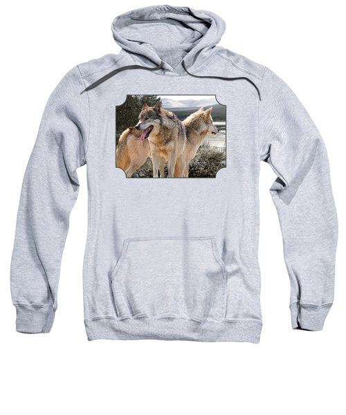 Keeping Watch - Pair Of Wolves Sweatshirt by Gill Billington